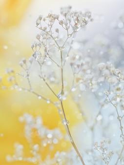 Prachtige abstracte wazig zachte achtergrond met bloemen in gele en grijze kleuren