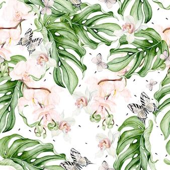 Prachtige aquarel naadloze patroon met tropische bladeren, orchideeën bloem en vlinder. illustratie