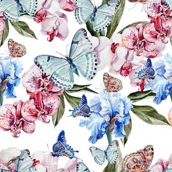 Prachtige aquarel patroon met vlinders en bloemen orchidee en iris. illustratie