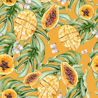 Prachtige aquarel tropische patroon met fruit papaja en mango, vlinders. illustratie