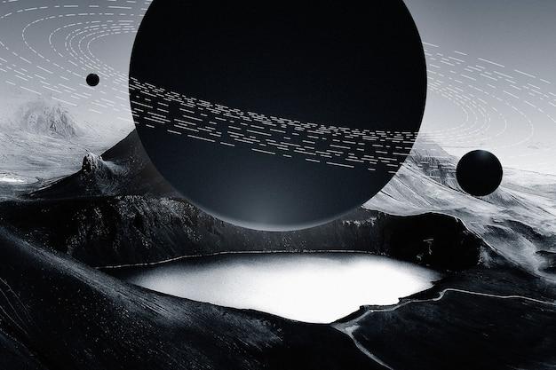 Prachtige bergmeer natuur achtergrond met donkere planeet galaxy remix