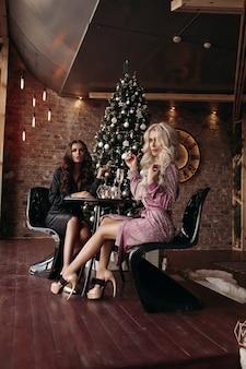 Prachtige dames in jurken met kerstmis.