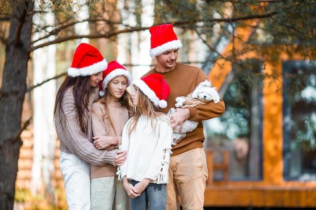 Prachtige familie met kinderen wandelen op eerste kerstdag