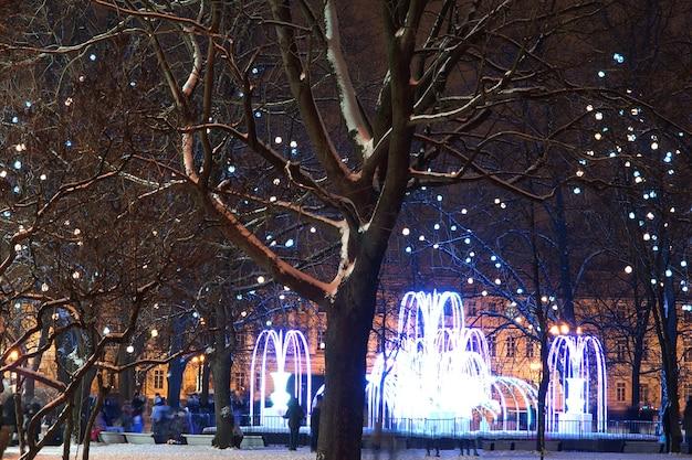 Prachtige fontein met avondverlichting in de winter