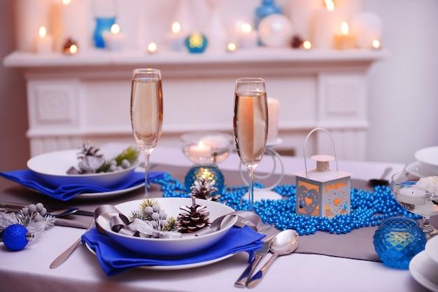 Prachtige kersttafel setting