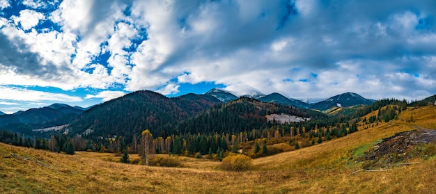 Prachtige kleurrijke bossen die de karpaten bedekken en een klein dorp