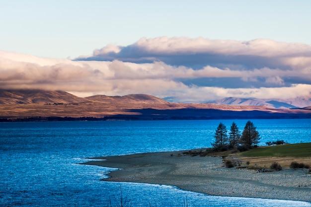 Prachtige landschappelijke van pukaki meer in aoraki