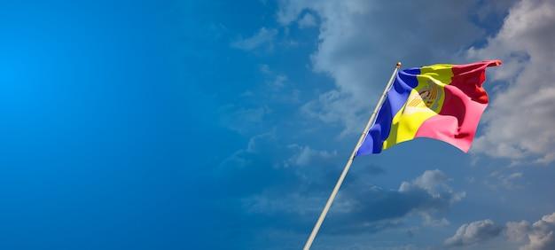 Prachtige nationale vlag van andorra met lege ruimte. vlag van andorra met plaats voor tekst 3d-illustraties.