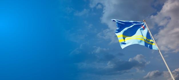 Prachtige nationale vlag van aruba met lege ruimte. vlag van aruba met plaats voor tekst 3d-illustraties.