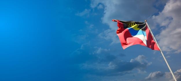 Prachtige nationale vlag van de vlag van antigua en barbuda met lege ruimte. markeer met plaats voor tekst 3d-illustraties.