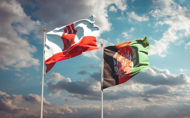 Prachtige nationale vlaggen van afghanistan en gibraltar