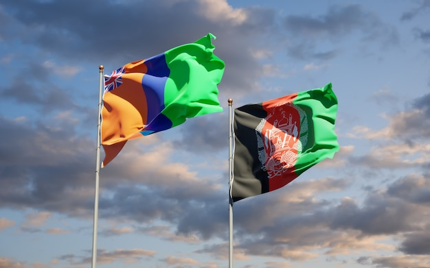 Prachtige nationale vlaggen van afghanistan en het sultanaat van m'simbati