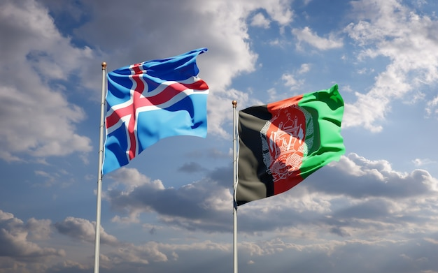 Prachtige nationale vlaggen van afghanistan en ijsland