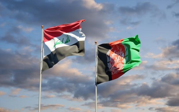 Prachtige nationale vlaggen van afghanistan en irak
