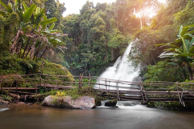 Prachtige natuur, waterval in het wild