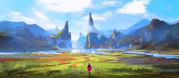 Prachtige natuurlijke omgeving, digitaal schilderen.