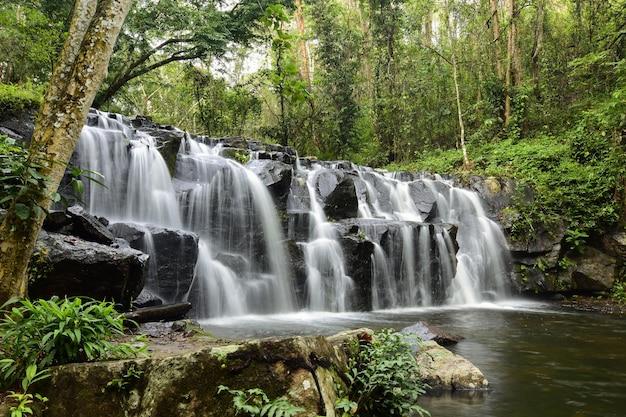 Prachtige waterval in diepe bossen.