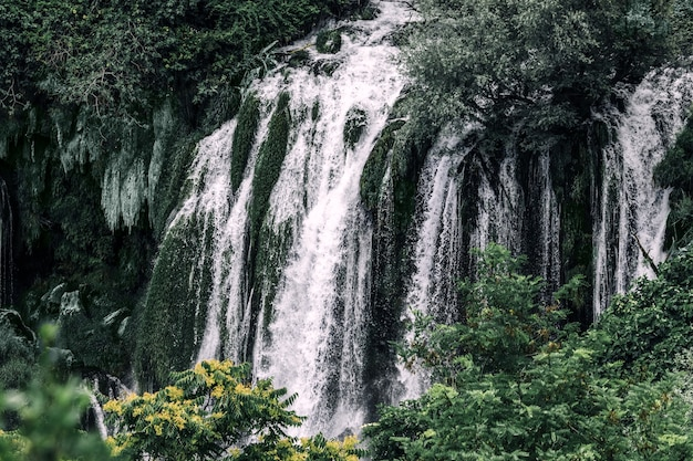 Prachtige waterval in het bos in bosnië.