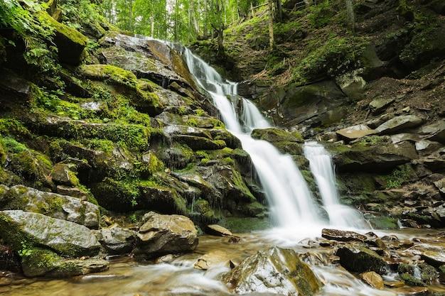 Prachtige waterval van bergrivier tussen de bomen en steen
