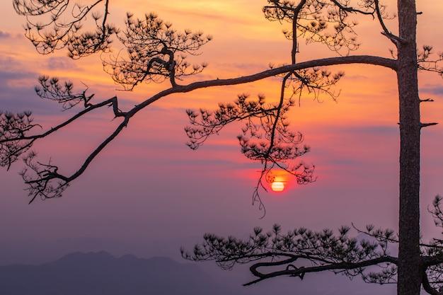 Prachtige zonsondergang op de hoge berg