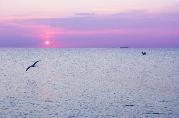 Prachtige zonsopgang op zee