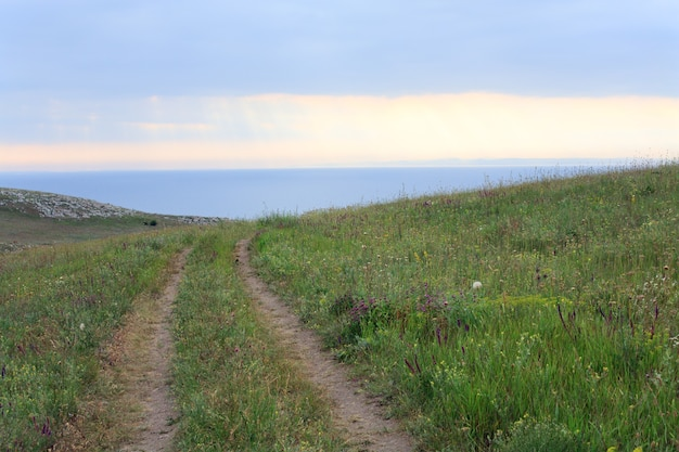 Prairies op de zeekust van de zomerzomer en zonreflecties in water