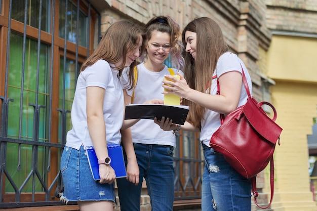 Pratende groep studentmeisjes, tienermeisjesstudenten in de buurt van bakstenen gebouw. terug naar de universiteit, start van de lessen, onderwijs, middelbare school