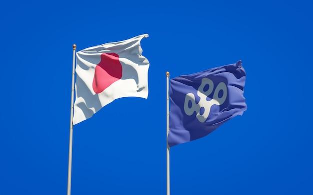 Prefectuur osaka en vlaggen van japan. 3d-illustraties