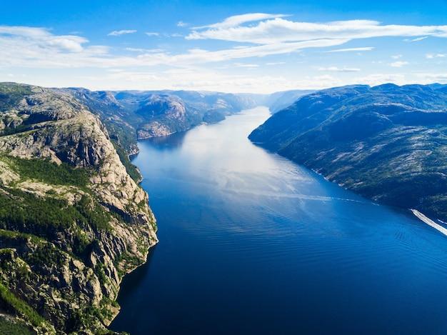 Preikestolen of prekestolen of pulpit rock luchtfoto, noorwegen