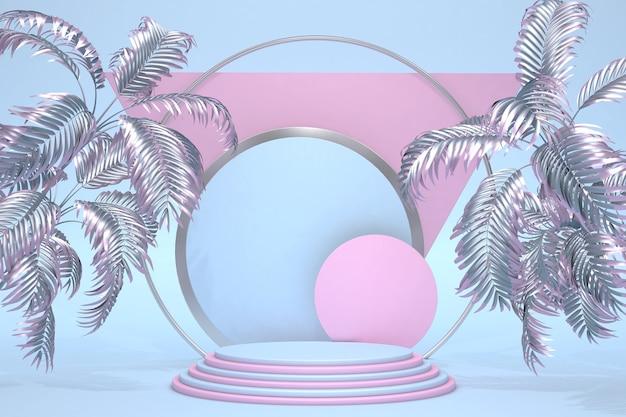 Premium blauw roze pastel 3d-podium op pastel achtergrond met abstracte palmen geometrische vormen voor de tentoonstellingen presentatie van producten zomerstijl illustratie