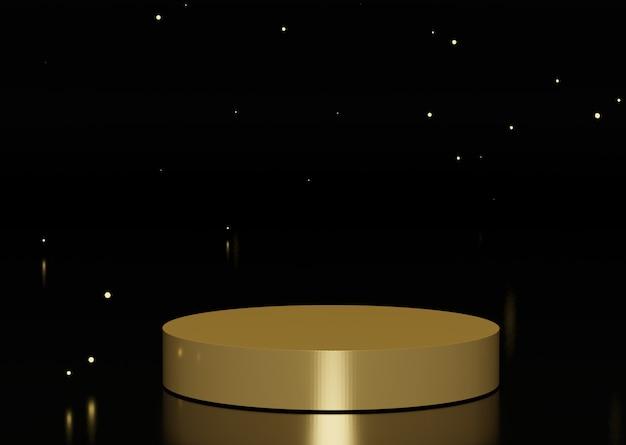 Premium golden op de vloer met lichte overstraling. 3d-abstracte minimale geometrische vormen.