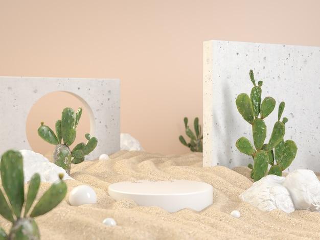 Premium mockup wit podium op zandgolf met groene tropische cactusplanten en rotsachtergrond 3d render