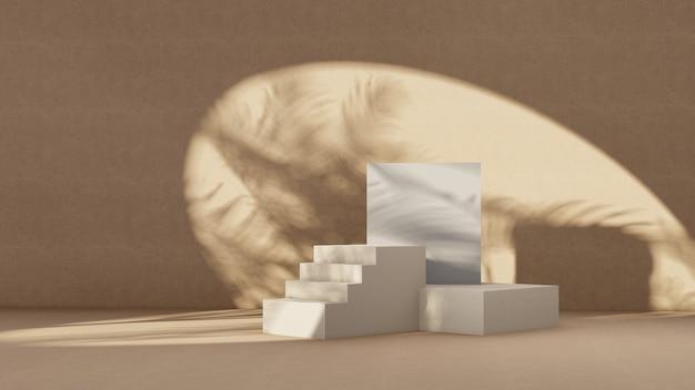 Premium podium op pastelachtergrond voor productweergave, abstracte geometrische compositie met tak en schaduw op de muur-3d render. bespotten voor tentoonstellingen. promotie.