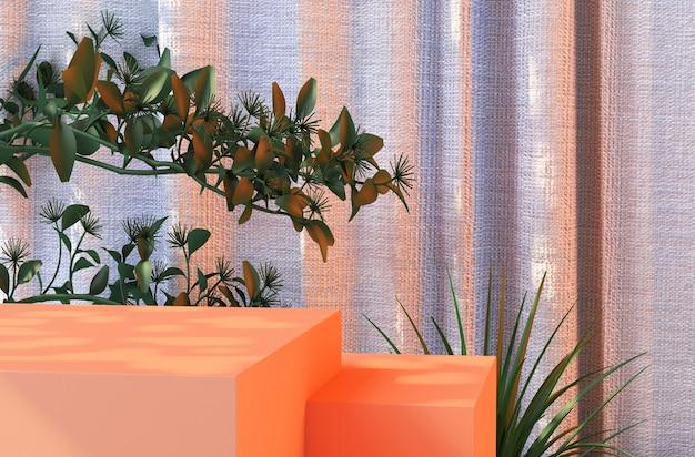 Premium podium rendering van bladeren, stof en natuurlijk hout