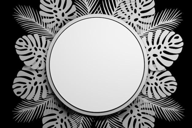 Presentatie mock-up cirkel met tropische bladeren