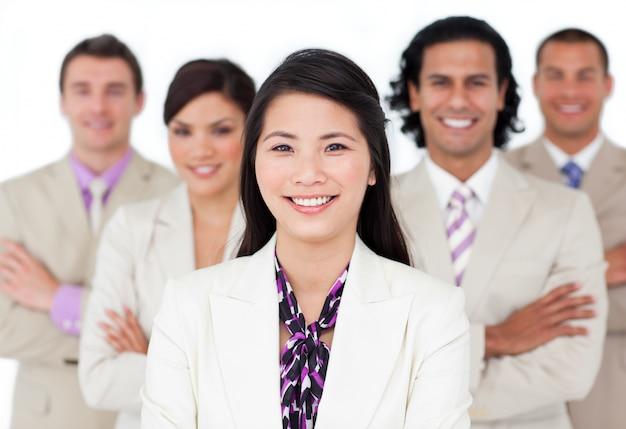 Presentatie van een internationaal commercieel team