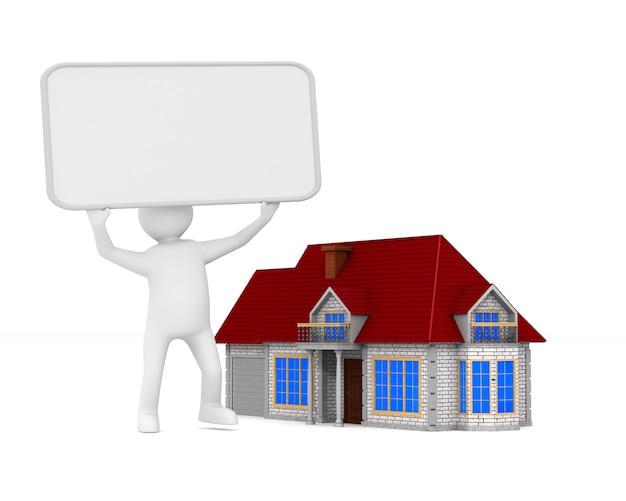 Presentatie van nieuw huis. geïsoleerde 3d-afbeelding.