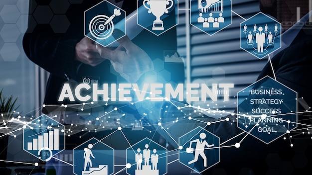 Prestatie en bedrijfsdoel succes conceptueel.