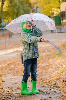 Preteen jongen in groene hoed lopen in herfst park