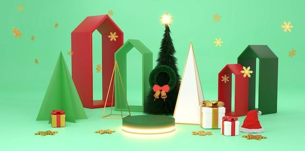Prettige feestdagen en een gelukkig nieuwjaar. abstract minimaal ontwerp, geometrische kerstbomen, geschenkdoos, leeg rond realistisch podium, podium. winter vakantie achtergrond. websitekoptekst of banner