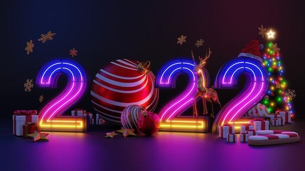 Prettige kerstdagen en een gelukkig nieuwjaar 2022. abstract minimaal ontwerp, neonlichtkerstbomen, geschenkdoos, leeg rond realistisch podium, podium. 3d-rendering.