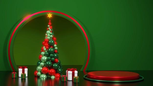 Prettige kerstdagen en een gelukkig nieuwjaar. abstract minimaal ontwerp, geometrische kerstbomen, geschenkdoos, leeg rond realistisch podium, podium. 3d-rendering.
