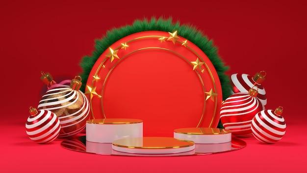 Prettige kerstdagen en een gelukkig nieuwjaar. abstract minimaal ontwerp, leeg rond realistisch podium, podium. 3d-rendering.