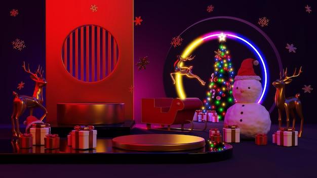 Prettige kerstdagen en een gelukkig nieuwjaar. abstract minimaal ontwerp, neonlichtkerstbomen, geschenkdoos, leeg rond realistisch podium, podium. 3d-rendering.