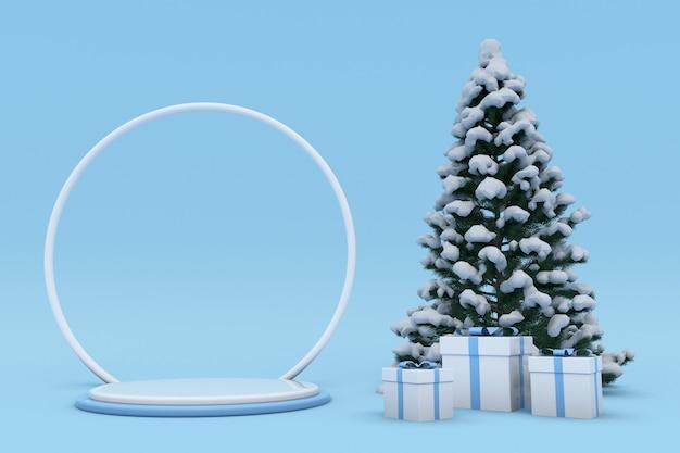 Prettige kerstdagen en gelukkig nieuwjaar 3d blauw design podium besneeuwde kerstboom geschenkdoos