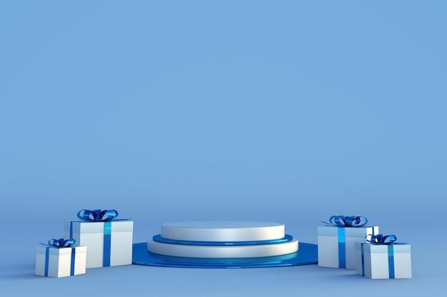 Prettige kerstdagen en gelukkig nieuwjaar 3d blauw podium met feestelijke geschenkdozen met linten