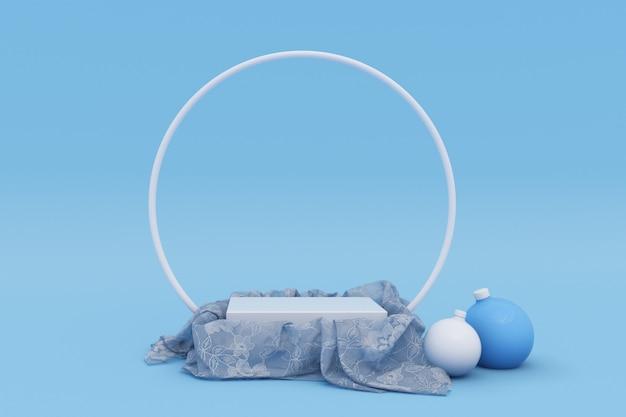 Prettige kerstdagen en gelukkig nieuwjaar 3d blauw podium met kerstballen wintervakantie
