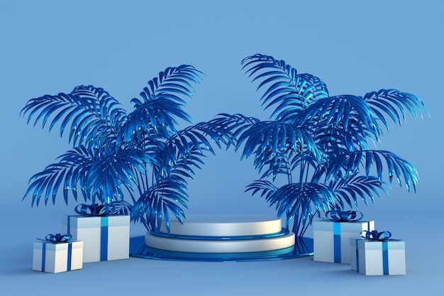 Prettige kerstdagen en gelukkig nieuwjaar 3d blauw podium met tropische palmbomen en feestelijke geschenkdozen