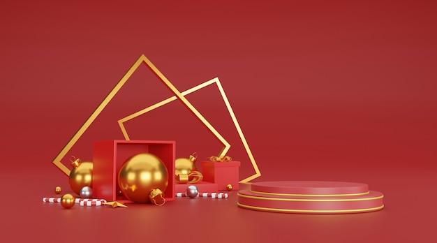 Prettige kerstdagen en gelukkig nieuwjaar achtergrond met feestelijke decoratie en kopie ruimte. 3d illustratie