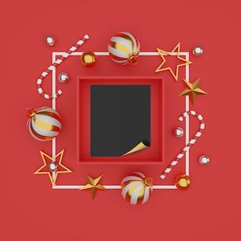Prettige kerstdagen en gelukkig nieuwjaar achtergrond met feestelijke decoratie en kopie ruimte